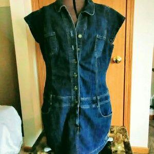 Jean Dress, Cap Sleeve, Dark Wash, Size 12